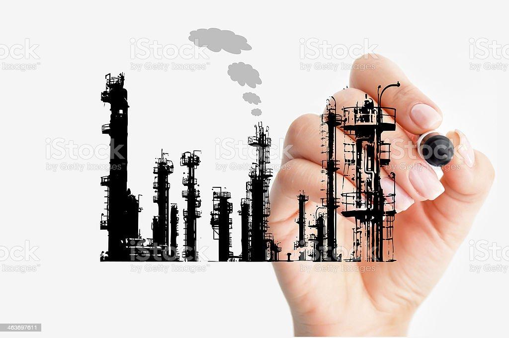Refinery silhouette concept stock photo
