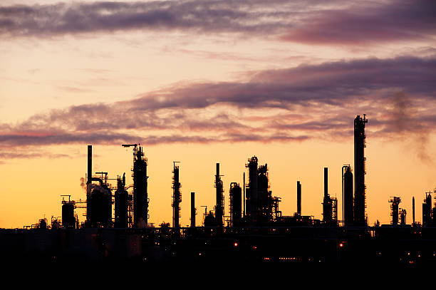 Refinery Silhouette stock photo