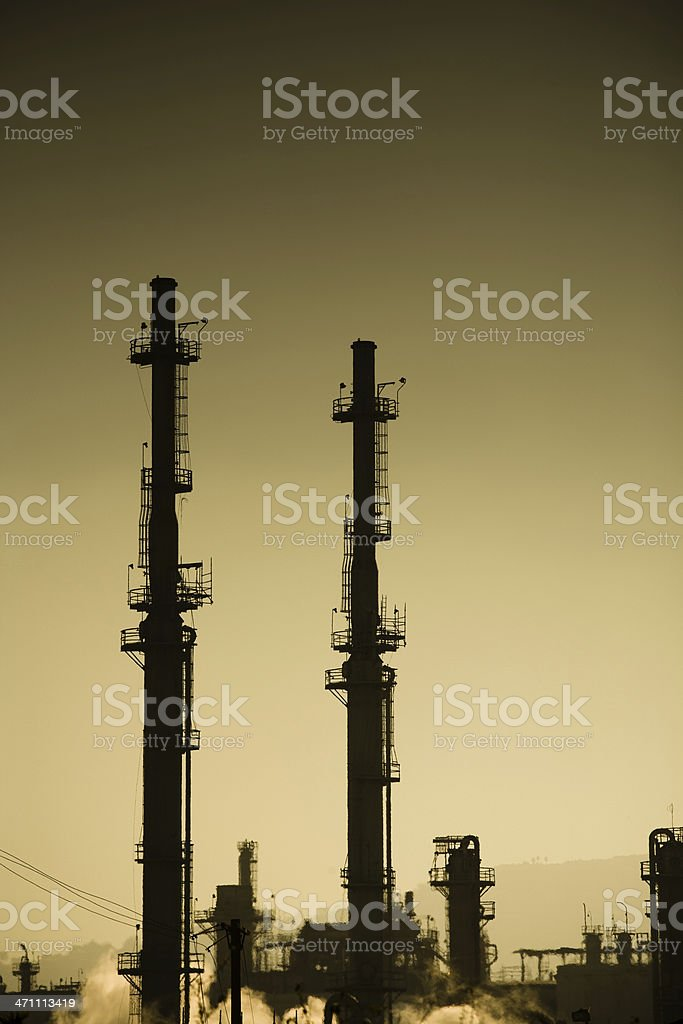 Refinery Stacks in Sepia royalty-free stock photo
