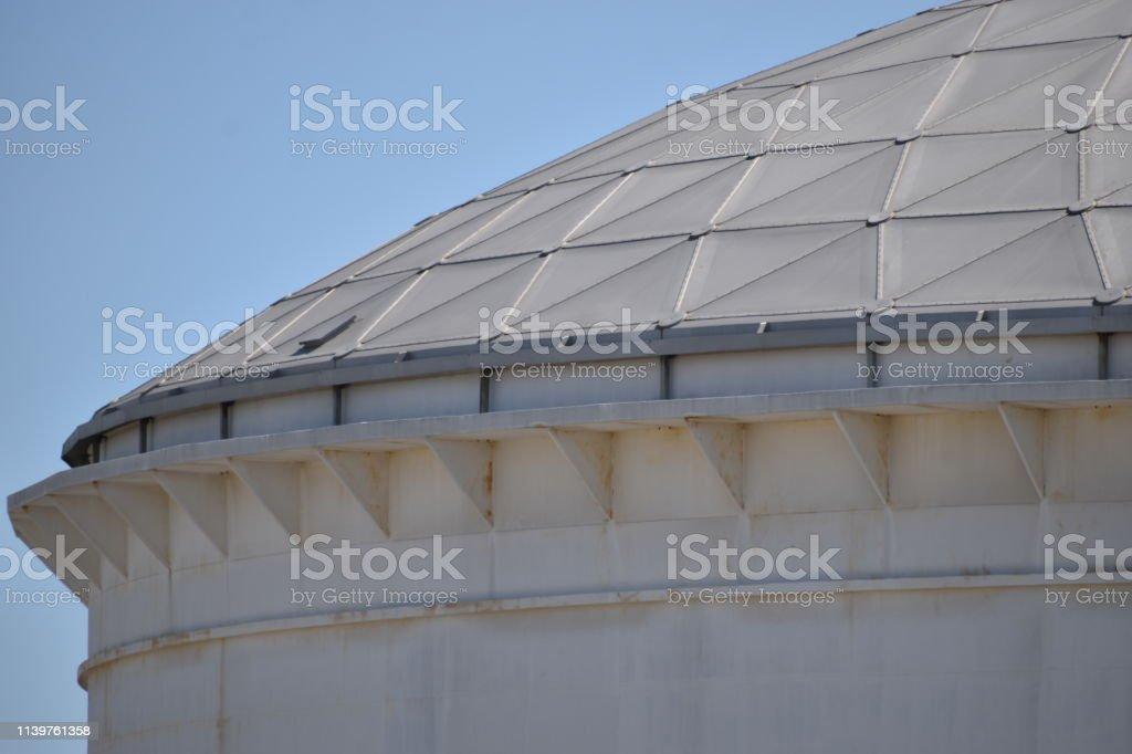 Refinery Storage Tank Roof stock photo