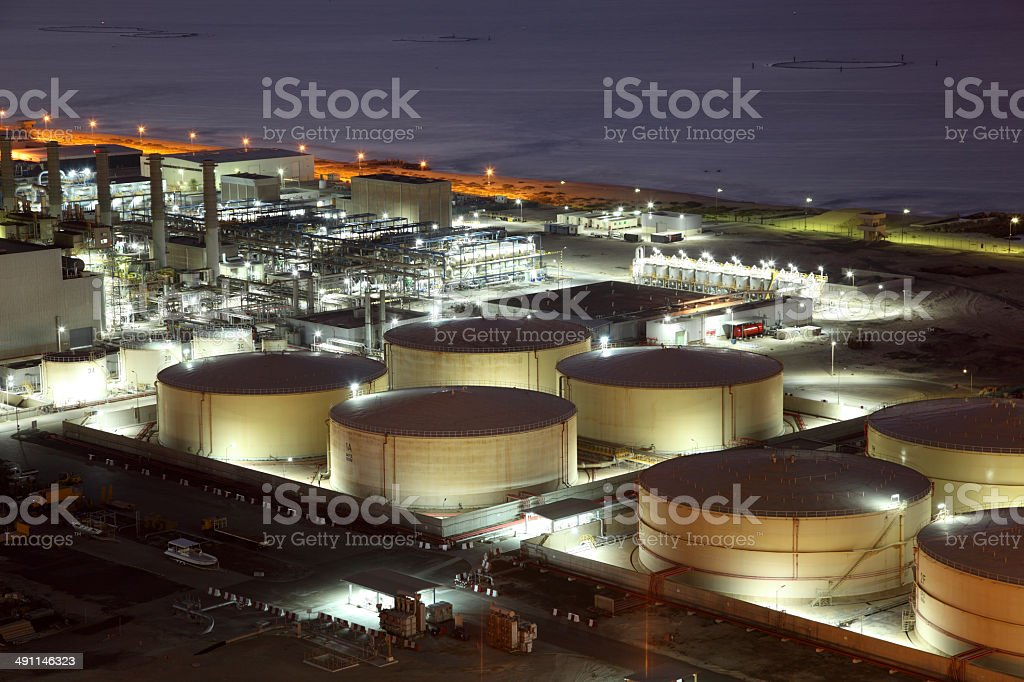 Refinery storage tanks stock photo