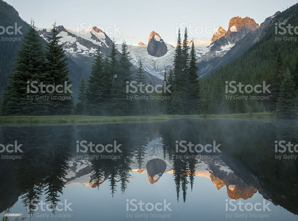 Reflected Bugaboo Mountains stock photo