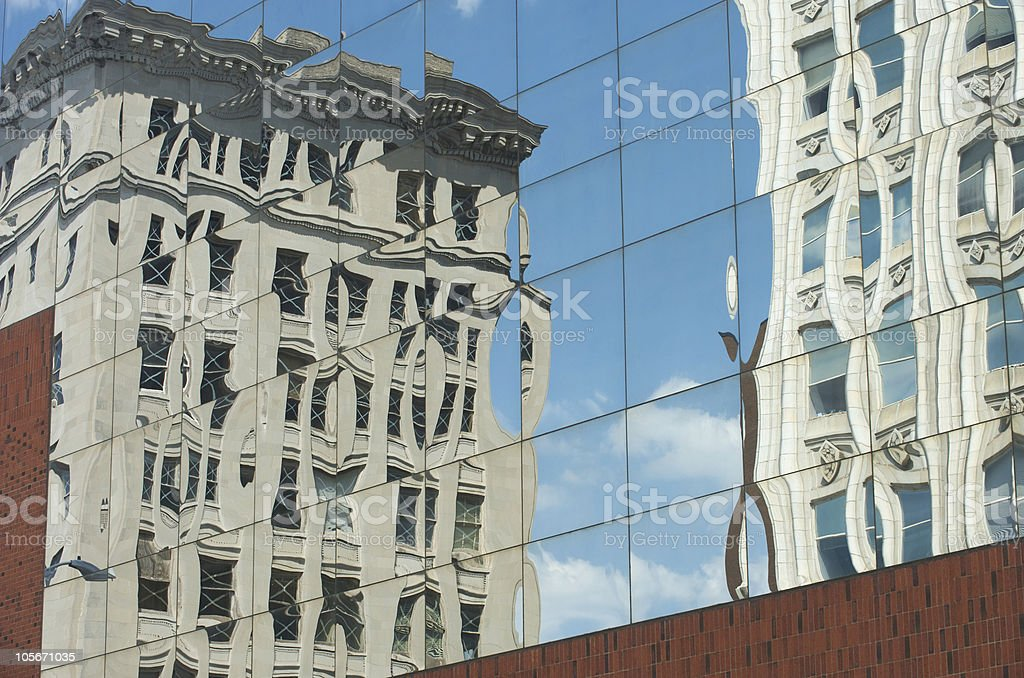 reflected buildings stock photo