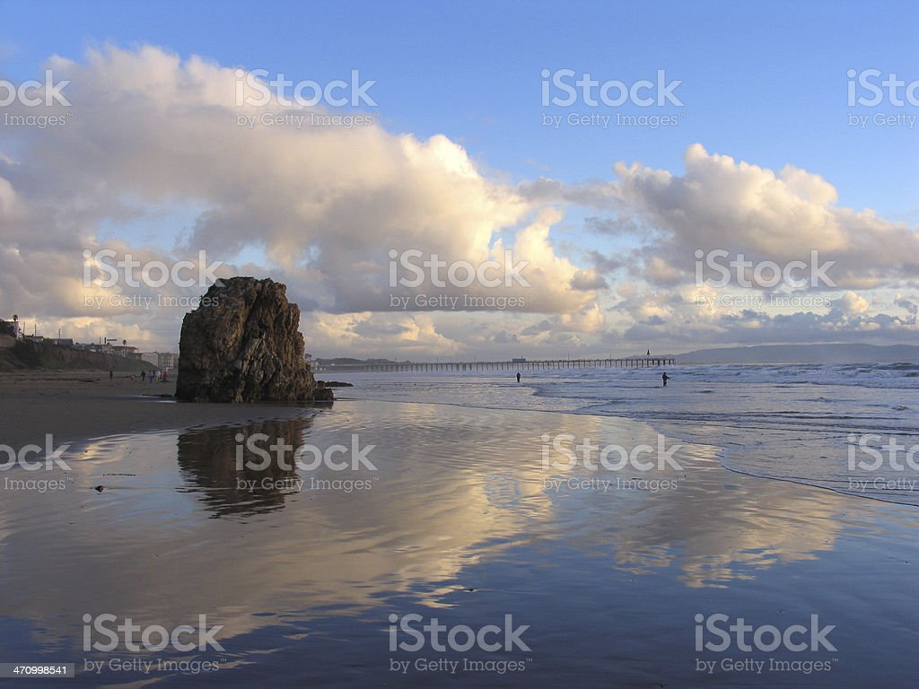 Reflected Clouds on the Ocean at Pismo Beach royalty-free stock photo