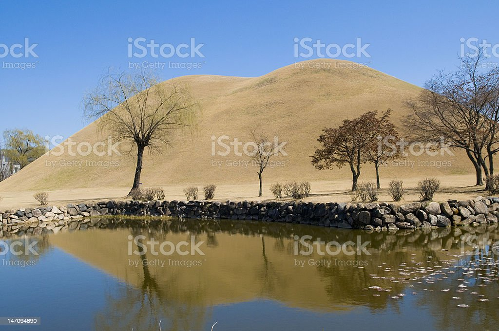 Reflected Korean Burial Mounds stock photo