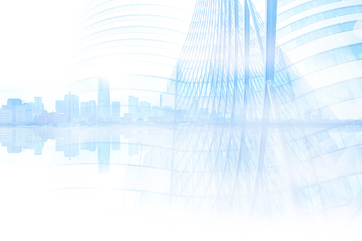 Reflected modern cityscape and bridge, abstract image visual