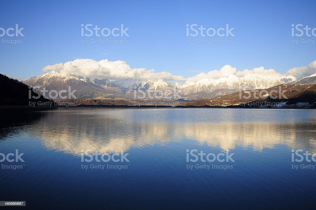 Reflected mountains stock photo
