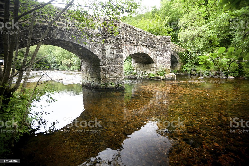 Reflecting in river, Dartmoor National Park, Devon. royalty-free stock photo