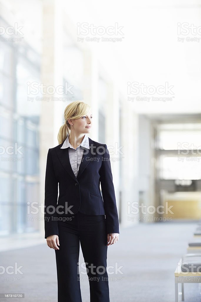 Reflecting on her business decisions royalty-free stock photo