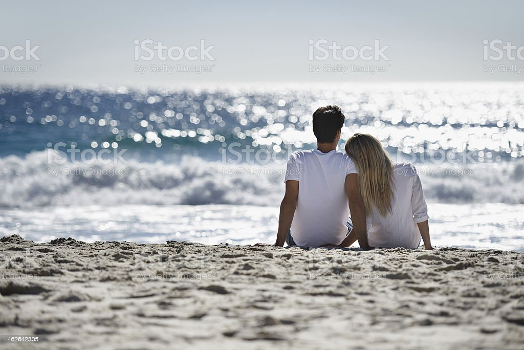 Reflecting on their love stock photo