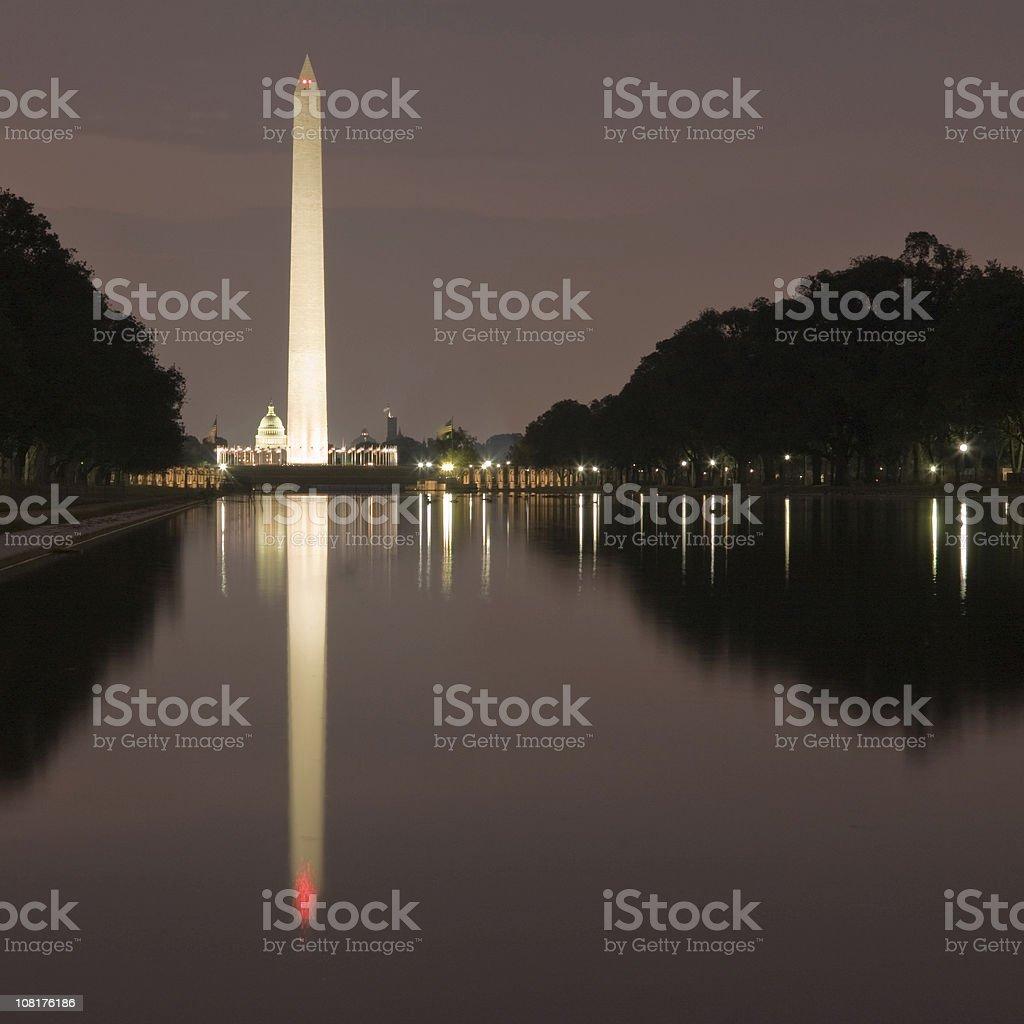 Reflecting Pool at night squared royalty-free stock photo