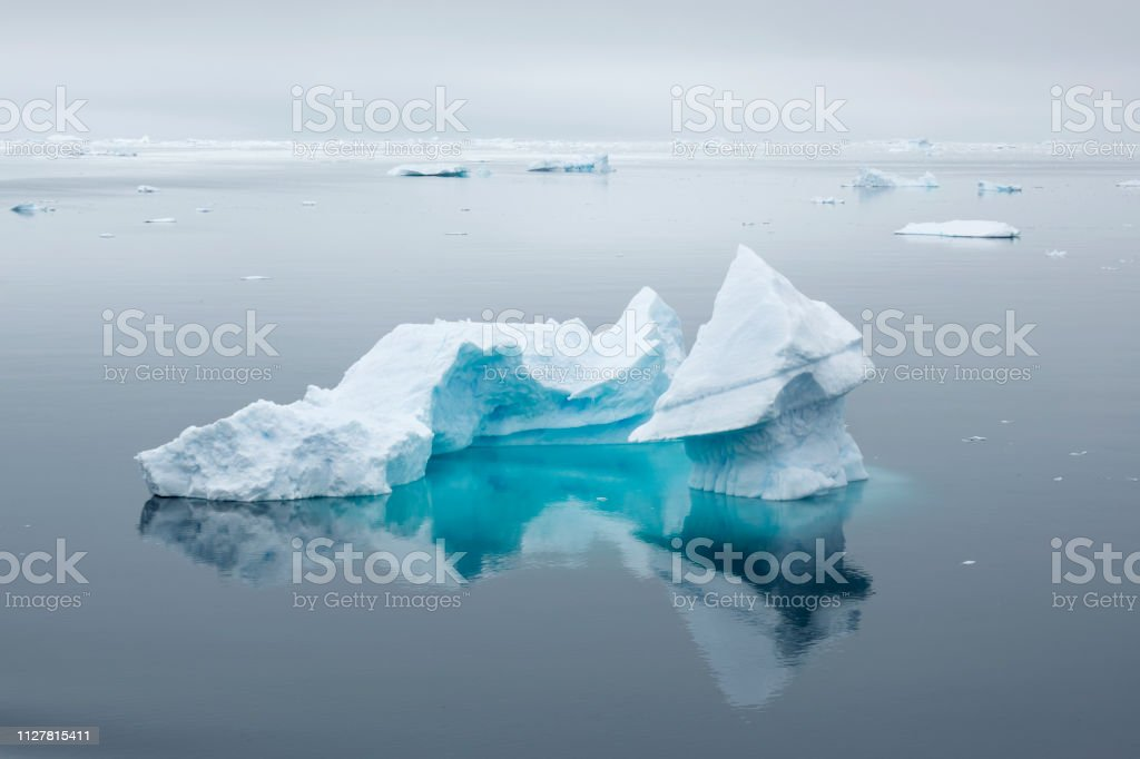 Reflecting shaped textured Iceberg Andvord Bay Neko Harbor Antarctic Peninsula Antarctica stock photo