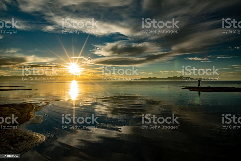 Reflecting Sun stock photo