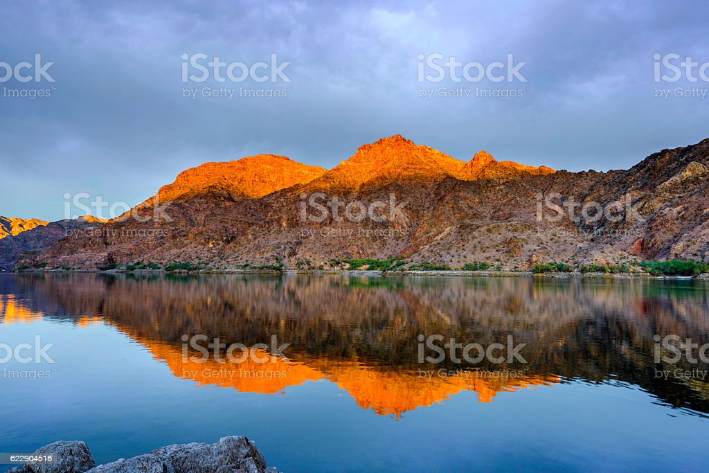 Reflection at dawn stock photo