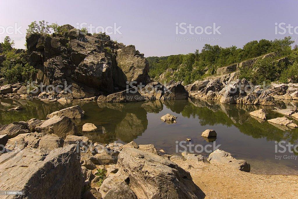 Reflection at Great falls of the Potomac river royalty-free stock photo