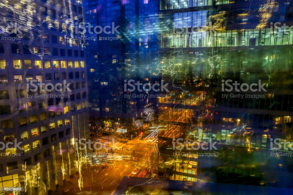 Reflection at Vancouver Traffic Jam in night stock photo
