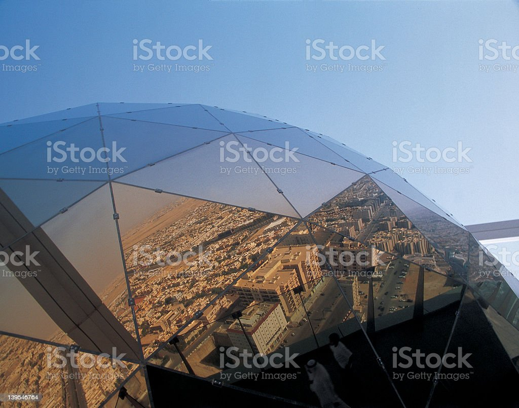 A reflection atop a skyscraper of Riyadh, Saudi Arabia royalty-free stock photo