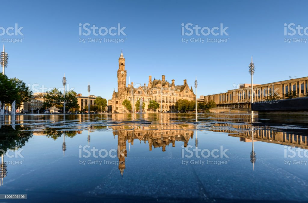 Reflection Bradford Town Hall stock photo