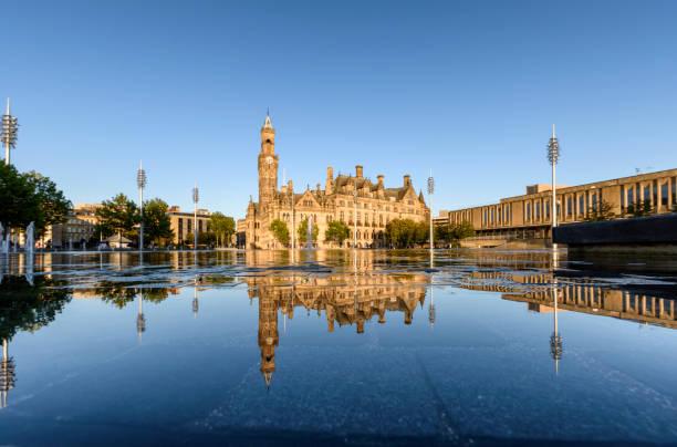 Reflection Bradford Town Hall stock photo
