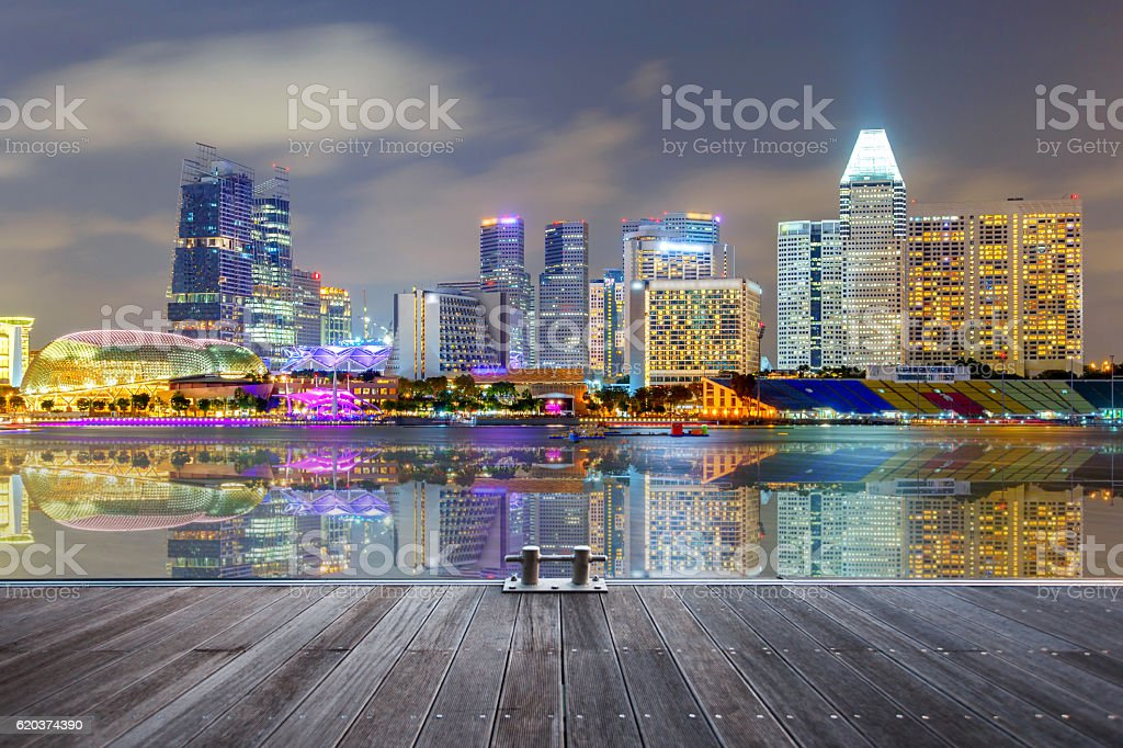 Reflection Building in Singapore at night view zbiór zdjęć royalty-free
