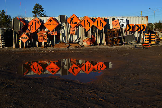 Reflection - Construction Signs stock photo