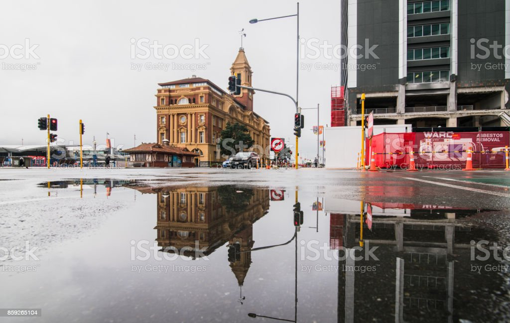 Reflection Ferry Building, Auckland, New Zealand. stock photo