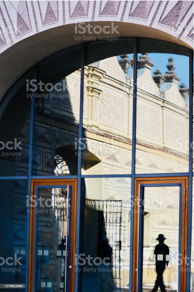 Reflection in a building stock photo
