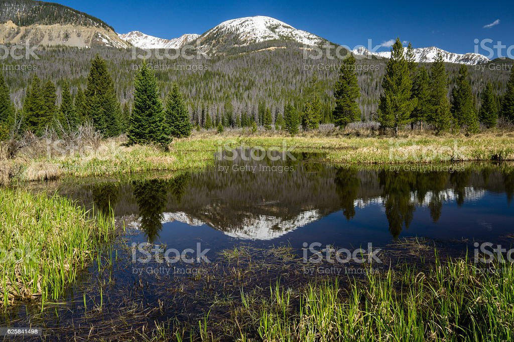 Reflection in Rocky Mountain National Park stock photo