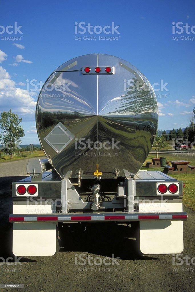 Reflection in Semi-truck stock photo