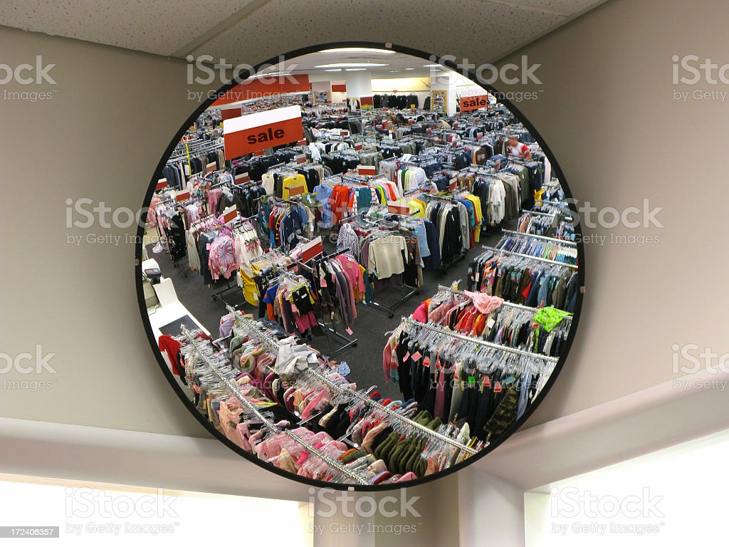 Reflection in store security mirror royalty-free stock photo