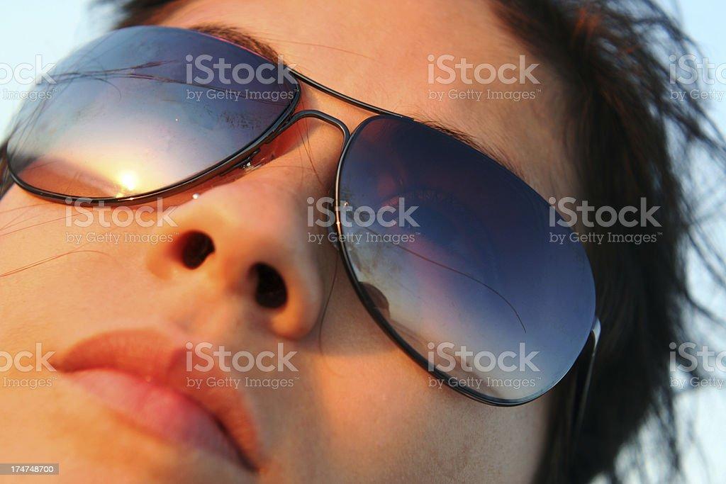 reflection in sunglasses stock photo