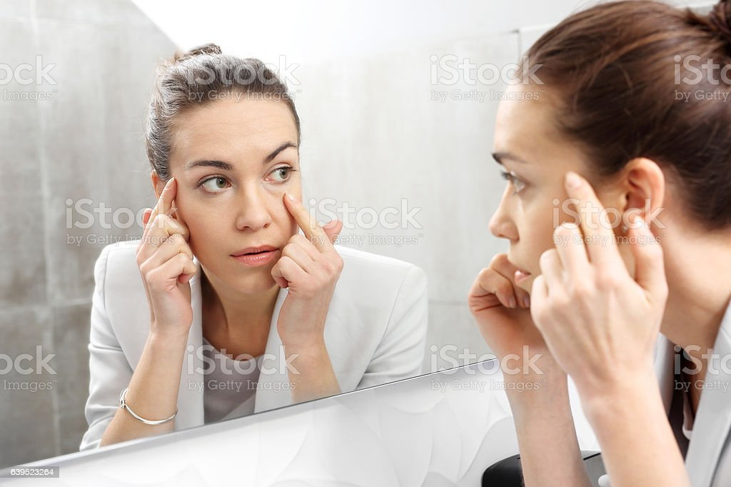 Reflection in the mirror. stock photo