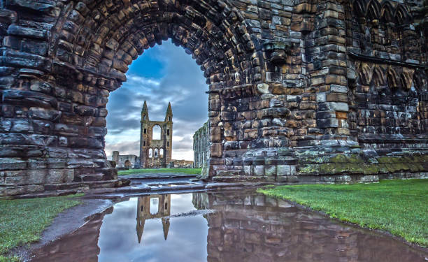 Reflection in the Water of the St Andrews Cathedral in St. Andrews, Scotland stock photo