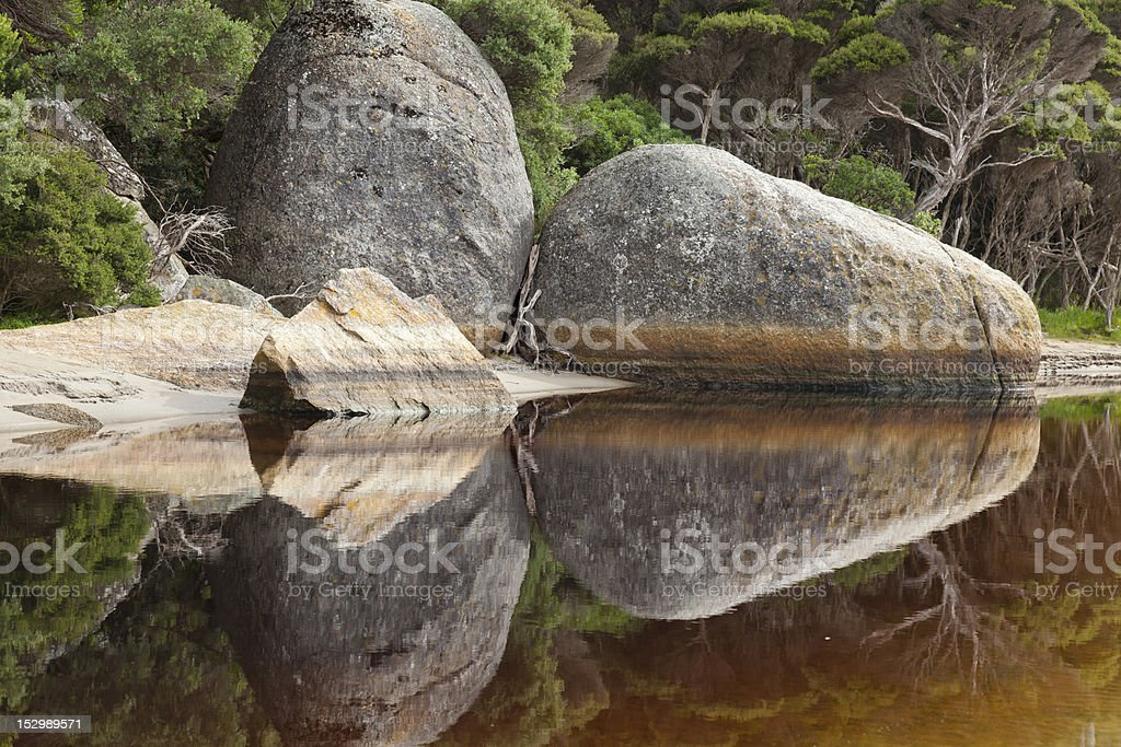 Reflection in Tidal River, Wilson's Promontory National Park stock photo