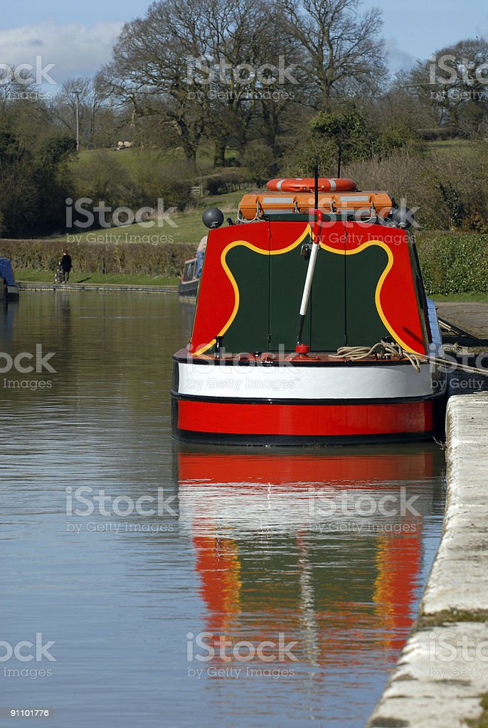 Reflection in water of Canal barge. royalty-free stock photo