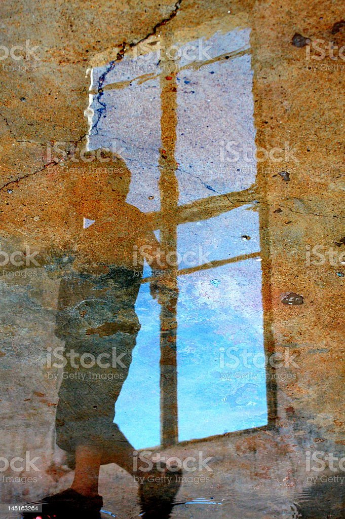 reflection of a boy stock photo