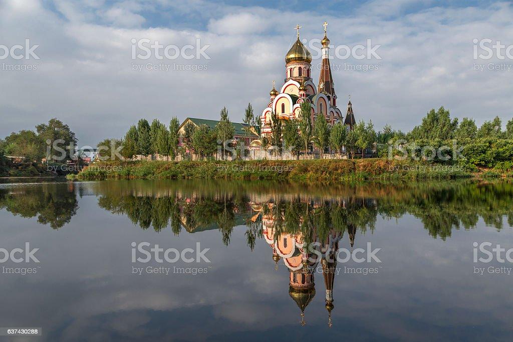 Reflection of a church in Almaty, Kazakhstan stock photo