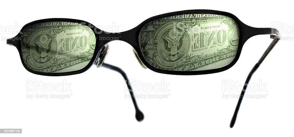 Reflection of a one dollar bill royalty-free stock photo