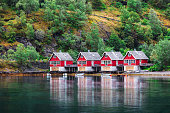 Reflection of a small houses in a fiord, Norway