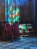Sunlight Through the Stained Glass Window of a Church