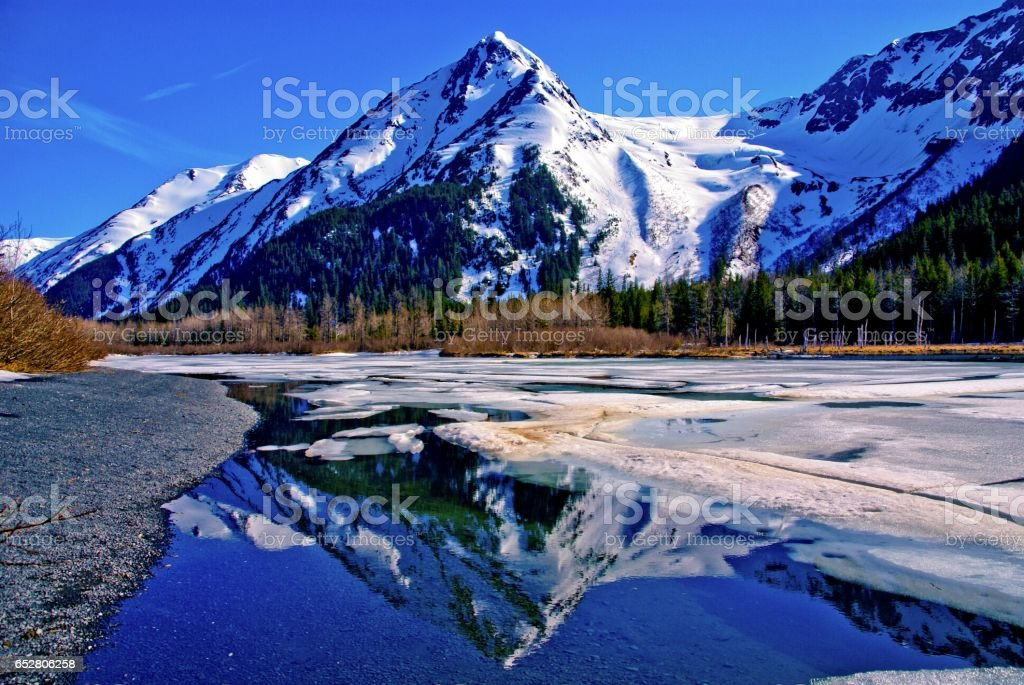 Reflection of Alaskan Mountain in Lake. stock photo