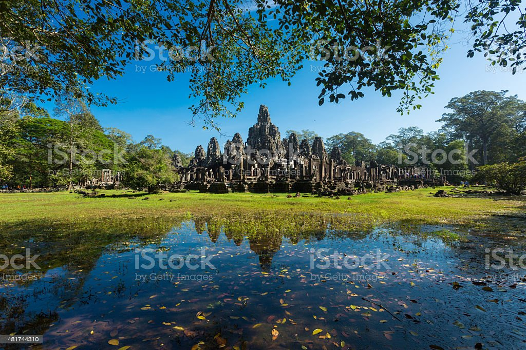 Reflection of Bayon temple in Angkor Thom,  Siem Reap, Cambodia stock photo