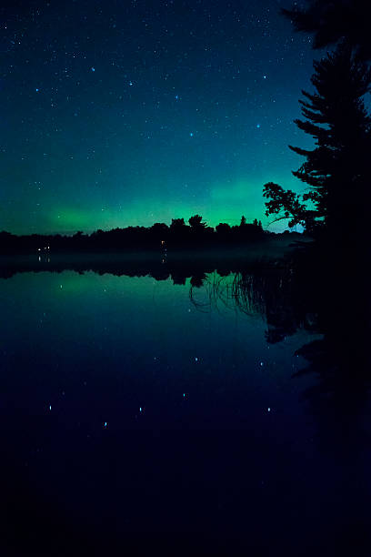 Reflection of Big Dipper and Aurora Borealis in lake Big Dipper star pattern reflected in Ten Mile Lake in northern Minnesota with a green glow of  Aurora Borealis northern lights in the sky big dipper constellation stock pictures, royalty-free photos & images