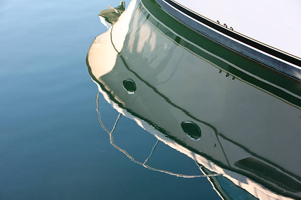 reflection of boat on water