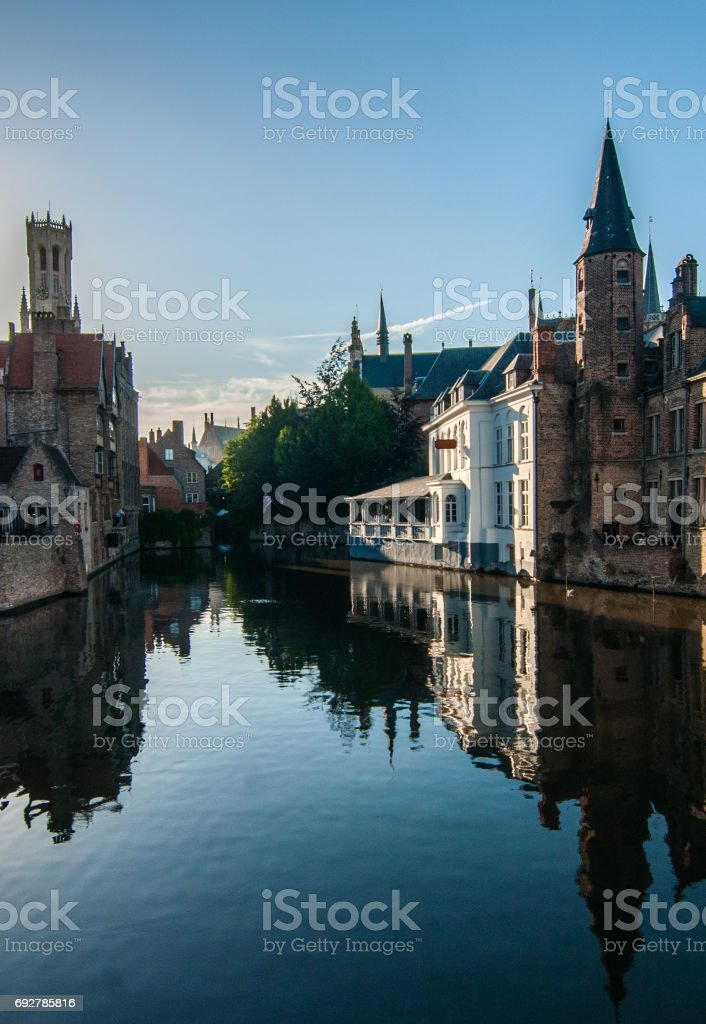 Reflection of canals in Bruges , Belgium stock photo