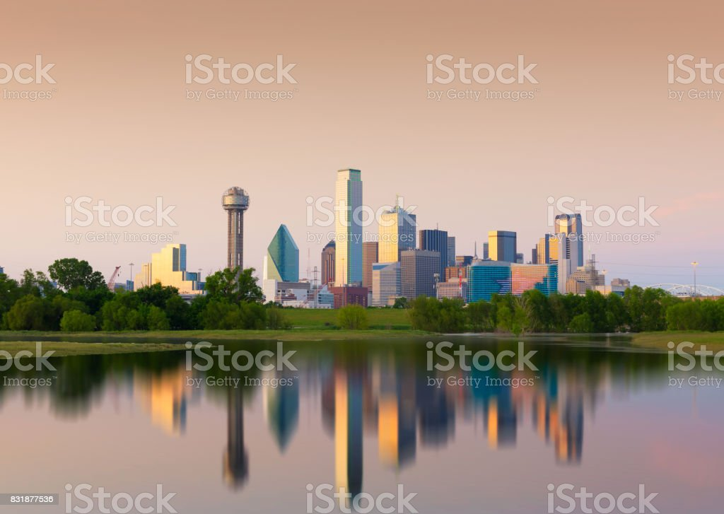 Reflection of Downtown Dallas City, Texas, USA stock photo