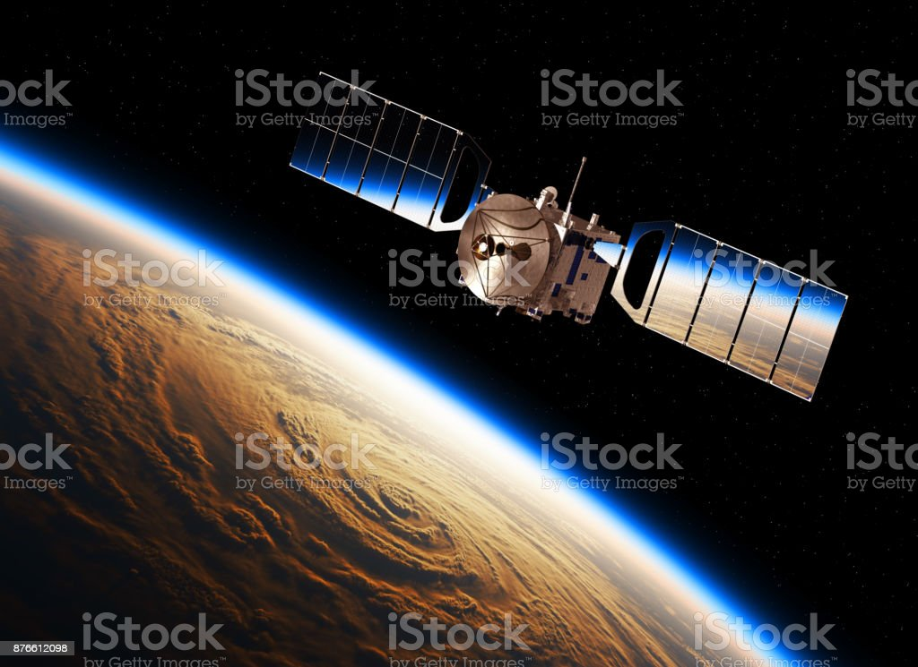 Reflection Of Earth In Solar Panels Of A Space Satellite stock photo