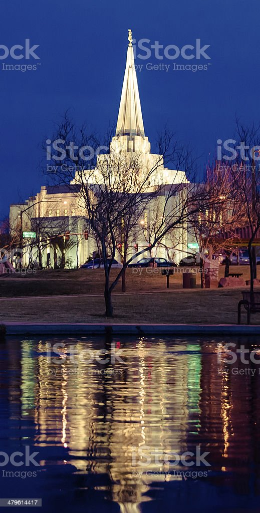 Reflection of Gilbert LDS Temple stock photo