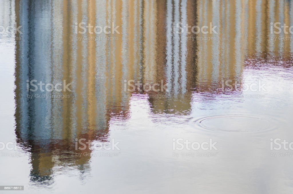 Reflection of houses in water stock photo