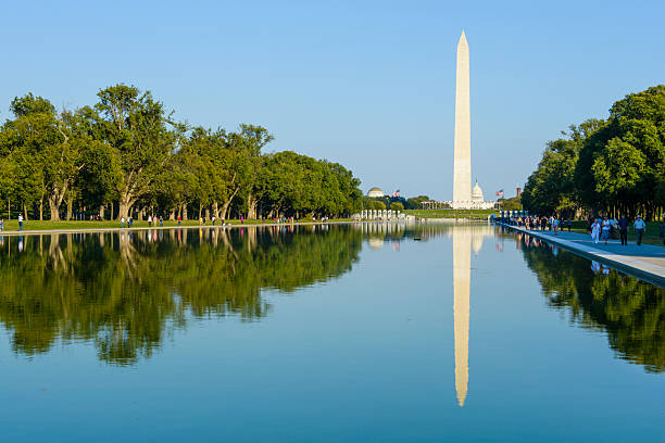 Reflection of in pool of Washington Monument, Washington, DC stock photo